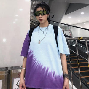 OVERSIZED RETRO BLUE PURPLE TIE DYE T-SHIRT