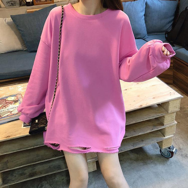 OVERSIZED SOLID COLORS RIPPED HOLES O-NECK SWEATSHIRT