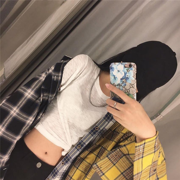 OVERSIZED THREE PATCHED COLORS PLAID LOOSE SHIRT