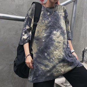 OVERSIZED TIE DYE BLUE ARMY GREEN T-SHIRT