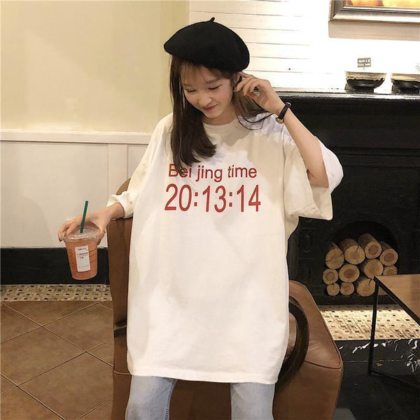 OVERSIZED TIME PRINT WHITE GRAY ROUND NECK T-SHIRT