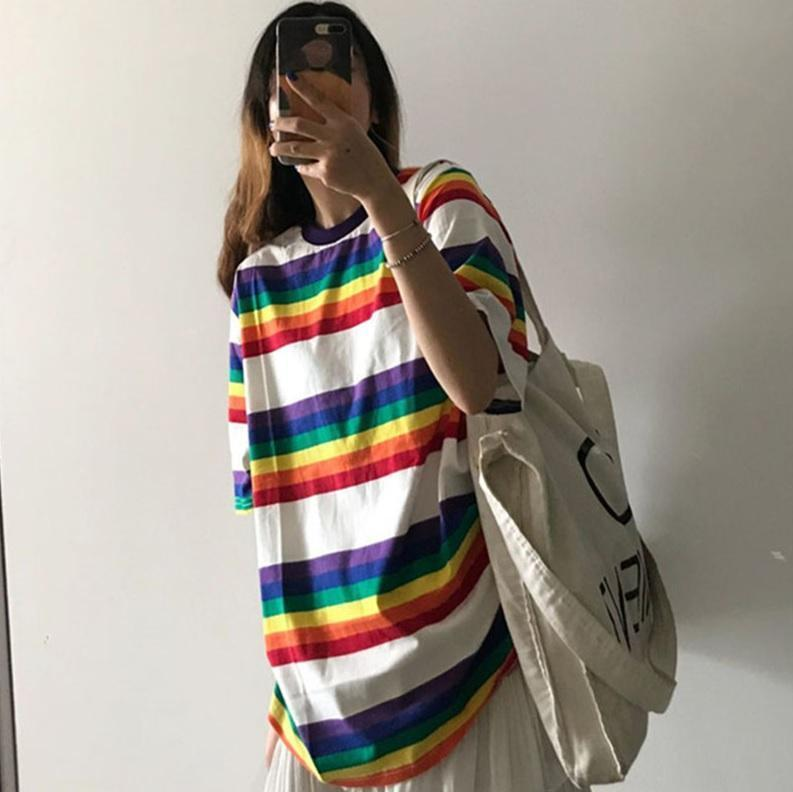 OVERSIZED TOMBOY STRIPES RAINBOW LONG T-SHIRT