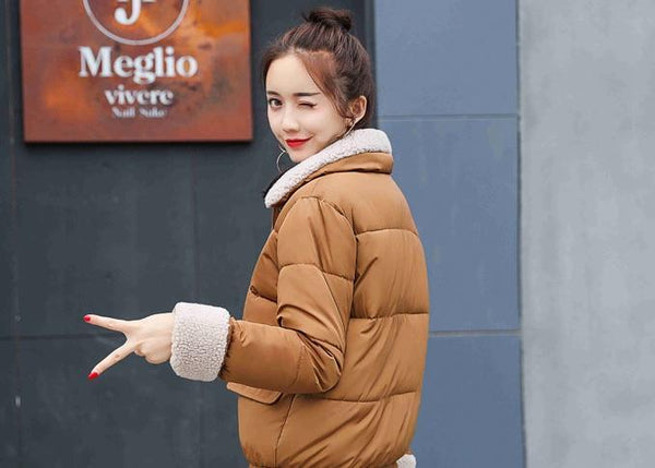 PADDED FLUFFY COLLAR BASIC PASTEL COLORS WARM COAT JACKET