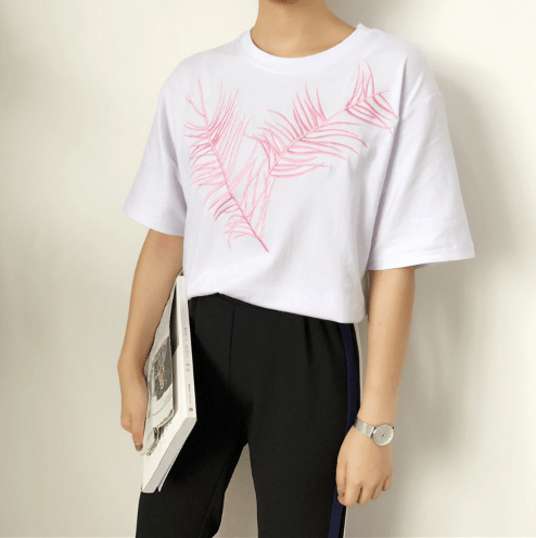 PALM LEAF EMBROIDERY COTTON OVERSIZED T-SHIRT