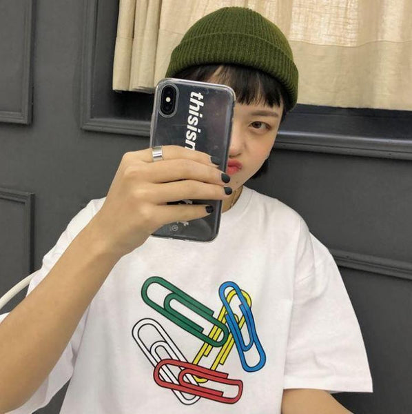 PAPER CLIPS CARTOON PRINT WHITE OVERSIZED T-SHIRT