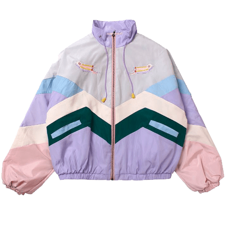PASTEL COLORS PATCHES LINES HOOD RAIN COAT