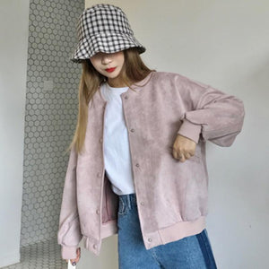 PASTEL COLORS PINK CREAM BOMBER JACKET