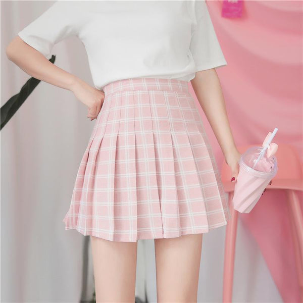 PASTEL COLOURS POPPY DOUBLE LINES PLAID PLEATED SCHOOL SKIRT