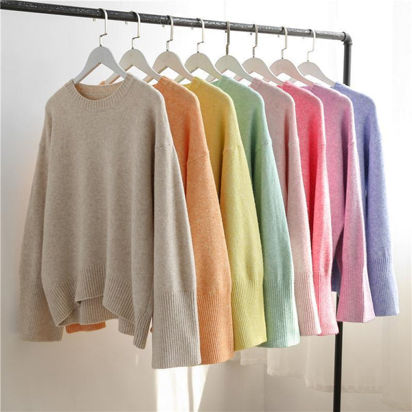 PASTEL RAINBOW COLORS LOOSE O-NECK SWEATER