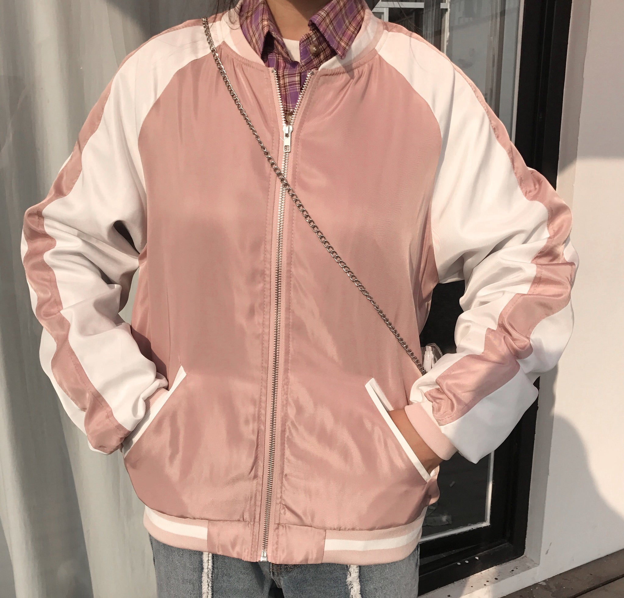 PASTEL SATIN ZIPPER BOMBER JACKET