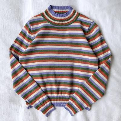 PASTEL STRIPES AESTHETIC TURTLENECK KNIT SWEATER