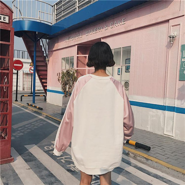PINK BLUE SAKURA CHEST EMBROIDERY COLORED LINE SLEEVE OVERSIZED SWEATSHIRT