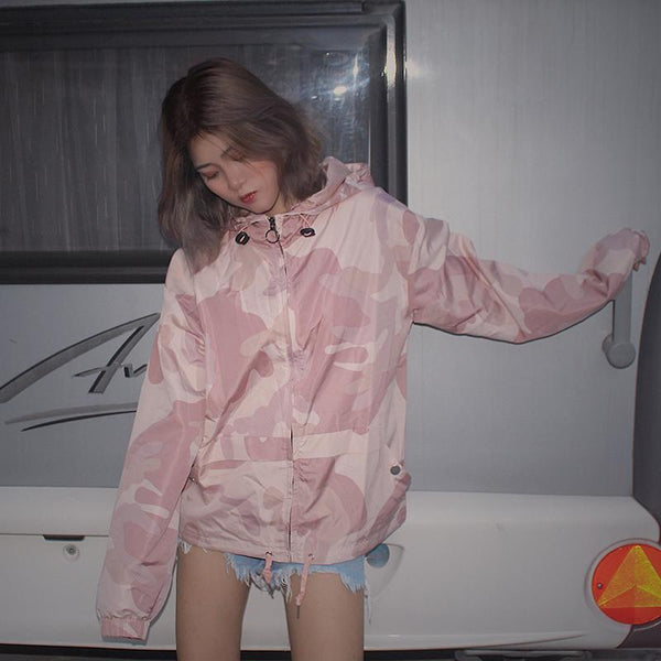 PINK CAMOUFLAGE LOOSE HOODED WINDBREAKER JACKET