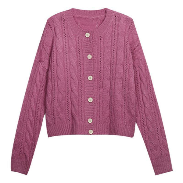 PINK CREAMY WHITE VINTAGE KNIT BRAIDS THIN CARDIGAN