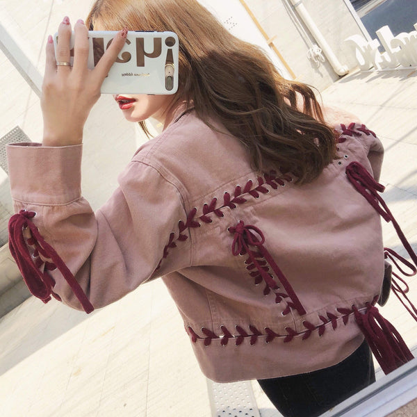 PINK DENIM RED STYLE LACING SHORT JACKET