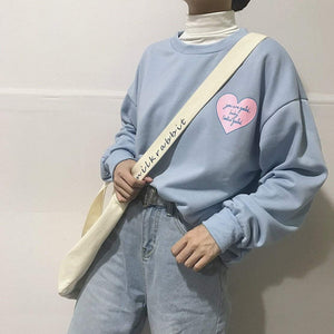 PINK HEART PATCHES BLUE PINK WHITE O-NECK OVERSIZED SWEATSHIRT