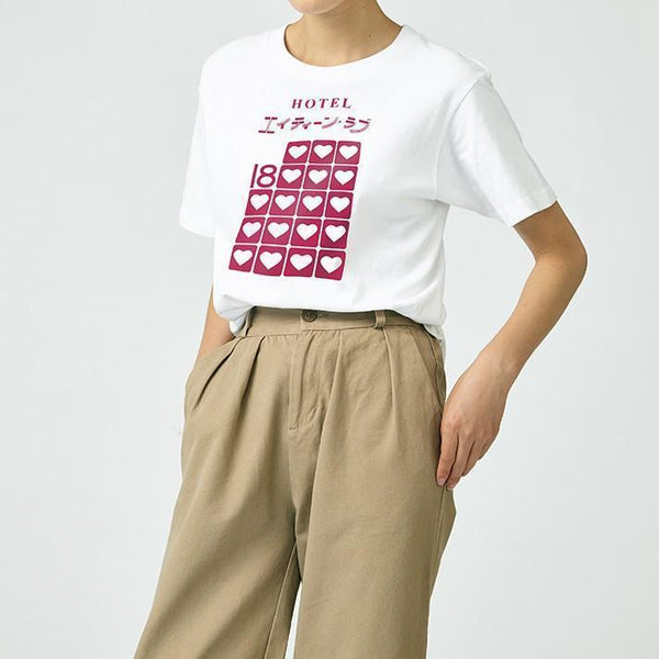 PINK HOTEL PRINT SOFT AESTHETIC LOOSE WHITE T-SHIRT