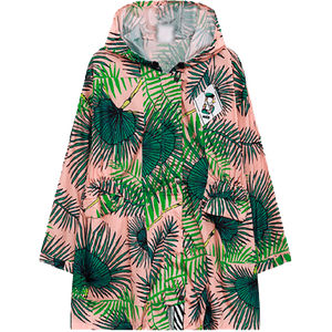 PINK LEAVES PRINT HOODED RAIN COAT