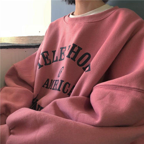 PINK OVERSIZE CUTE WARM O-NECK SWEATSHIRT