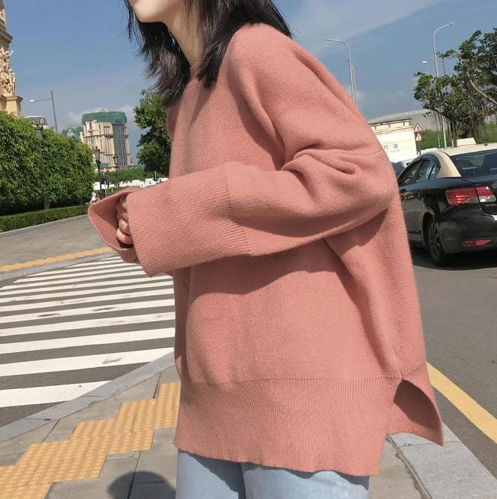 PINK SIDE CUTS OVERSIZED ROUND NECK KNITTED SWEATER