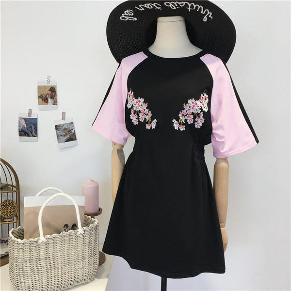 PINK SLEEVE BLACK SAKURA EMBROIDERY WAIST CASUAL DRESS