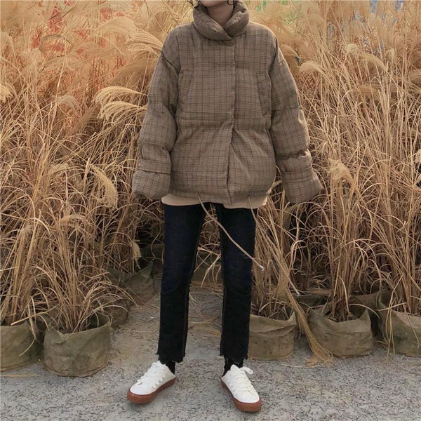 PLAID BEIGE CASUAL PUFF PADDED OUTWEAR JACKET