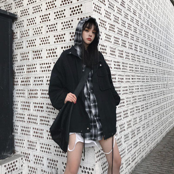 PLAID HOOD FAKE TWO PIECE KOREAN FASHION LOOSE JACKET