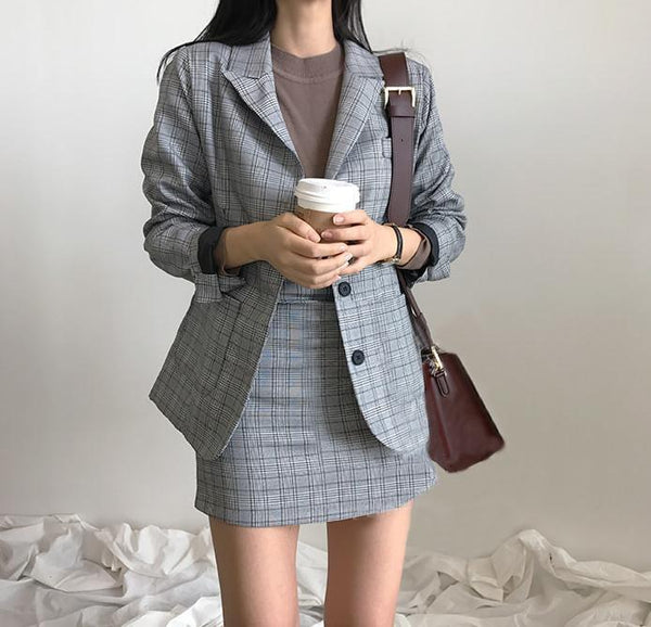 PLAID JACKET 2 in 1 SKIRT SET OFFICE STYLE GRAY TARTAN