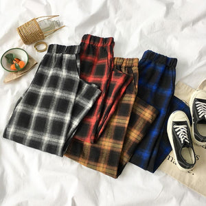 PLAID OVERSIZED ELASTIC WAIST PANTS