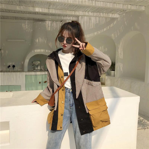 PLAID PATCHWORK OVERSIZED HOODED RAINCOAT