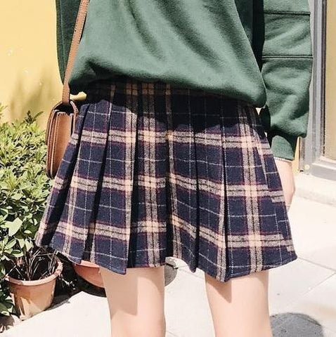 PLAID SCHOOL STYLE  6 COLORS PLEATHED SKIRT