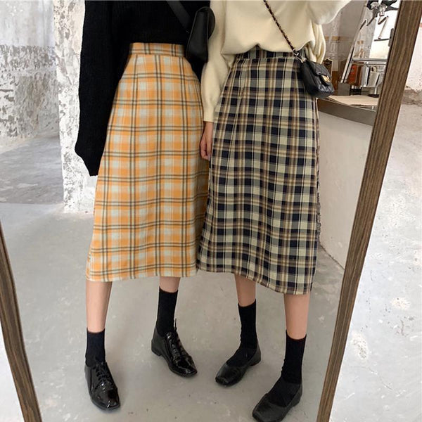 PLAID VINTAGE AESTHETIC HIGH WAIST LONG SKIRT