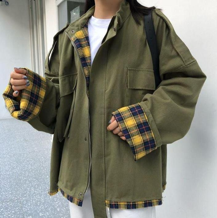 PLAID WINDBREAKER HOODED OVERSIZED COAT JACKET
