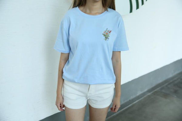 PLANT FLOWERS EMBROIDERY PATCH TSHIRT