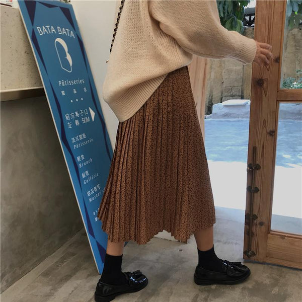 PLEATED LONG BLACK BROWN HIGH WAIST SKIRT