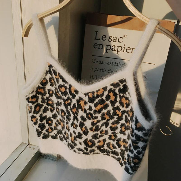 PLUSH LEOPARD ANIMAL PRINT CROP TOP