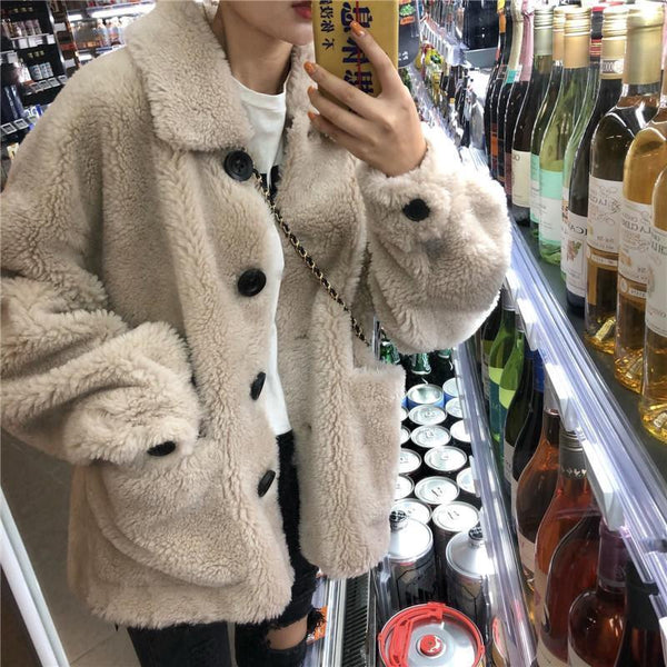 PLUSH WARM OUTWEAR BEIGE BUTTONS JACKET