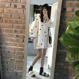 POLKA DOT PUFFED SLEEVES OVERSIZED SWEATER MINI DRESS