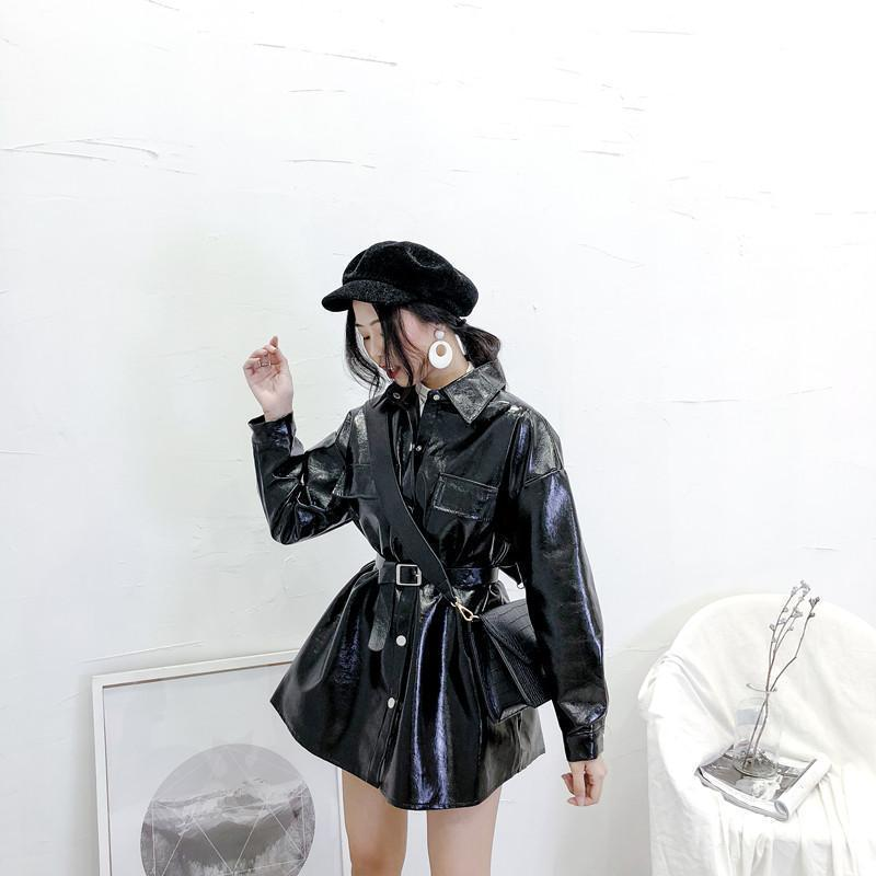 PU LEATHER RETRO SHORT TRENCH COAT