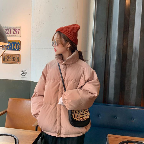 PUFF COLLAR PINK BLUE RED BLACK WARM JACKET