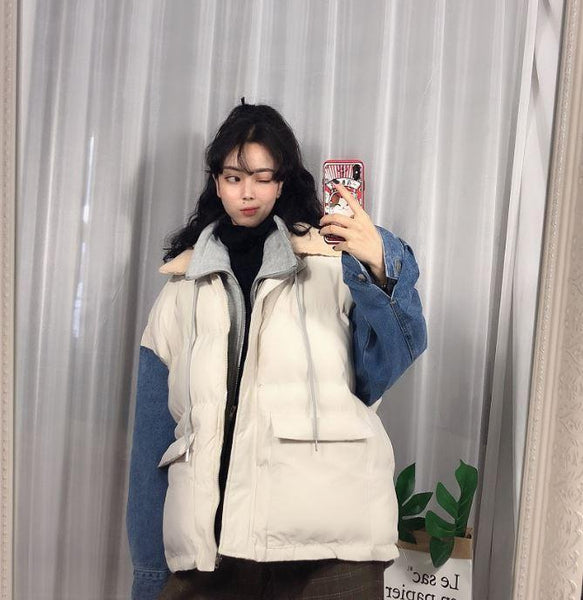 PUFF PADDED DENIM SLEEVES THICK WINTER JACKET