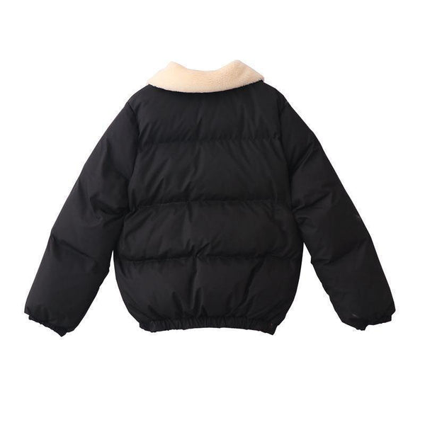 PUFF PADDED FAUX FLUFFY COLLAR ZIPPER WARM OUTWEAR COAT JACKET