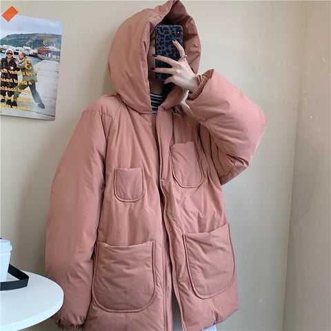 PUFF PADDED SOLID COLORS HOODED OUTWEAR JACKET