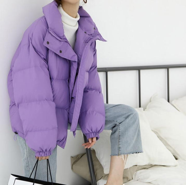 PUFF WARM OVERSIZE QUILTED LILAC OUTWEAR ZIPPER JACKET