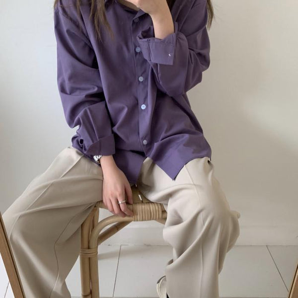 PURPLE BUTTONS LOOSE CASUAL LONG SLEEVED SHIRT