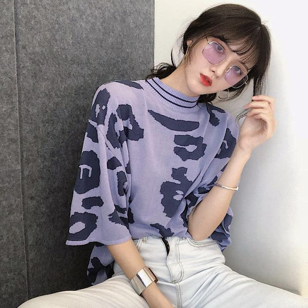 PURPLE LEOPARD PRINT ROUND COLLAR KNIT T-SHIRT