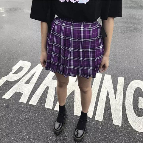 PURPLE PLAID PLEATED GRUNGE SCHOOL STYLE SKIRT