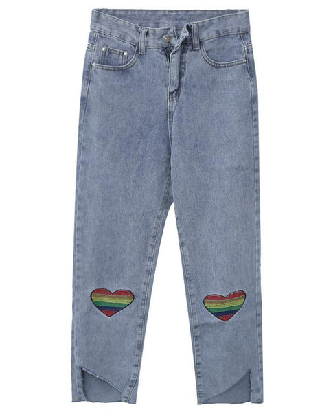 RAINBOW HEARTS EMBROIDERIES ART HOE BLUE DENIM PANTS