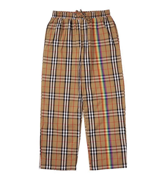 RAINBOW LINE BEIGE PLAID STRAIGHT LOOSE PANTS