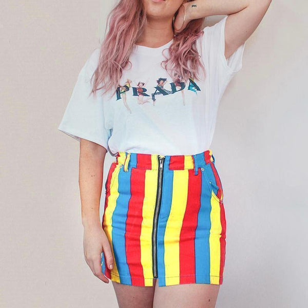 RAINBOW STRIPES COLORFUL HIGH WAIST MINI TUBE SKIRT